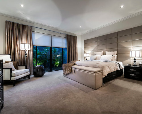 Large Trendy Carpeted Bedroom Photo In Perth With White Walls