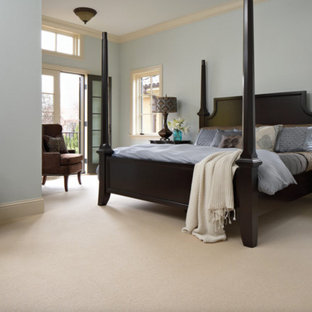 Bedroom - large transitional master carpeted and brown floor bedroom idea in Orange County with blue walls and no fireplace