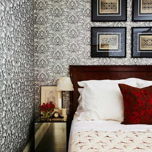 Inspiration for a transitional bedroom remodel in Toronto with multicolored walls