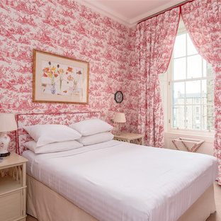 Design ideas for a victorian bedroom in Other with red walls, carpet and beige floor.