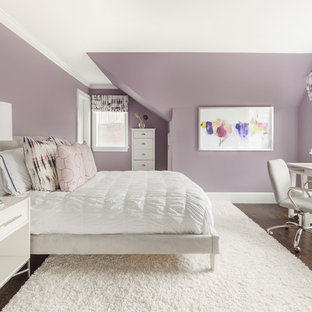 Inspiration for a transitional dark wood floor and brown floor bedroom remodel in New York with purple walls