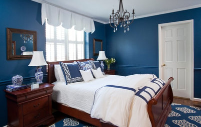 Room of the Day: Porcelain Inspires a Bedroom's Saturated Color
