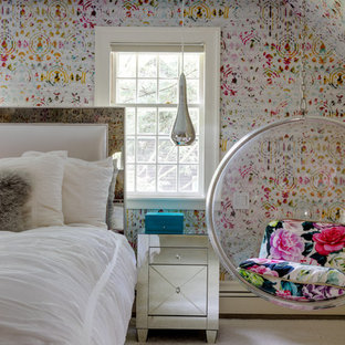Inspiration for an eclectic master carpeted bedroom remodel in Boston with multicolored walls