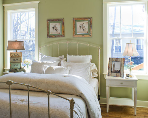 best shabby chic style bedroom with green walls design ideas remodel