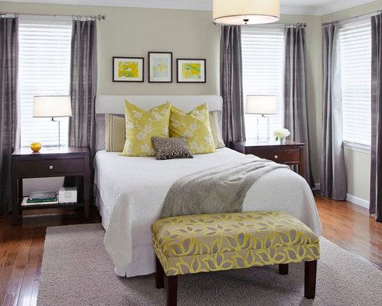 yellow and gray bedroom | houzz