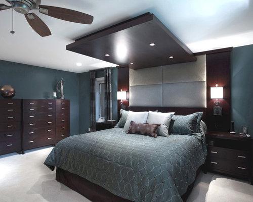 Chambre avec un sol en moquette mur bleu canard photos for Moquette bleu canard