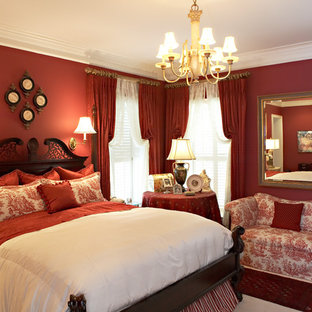Inspiration for a medium sized victorian guest bedroom in Other with red walls, carpet and white floors.