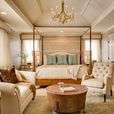 Inspiration for a large rustic master carpeted bedroom remodel in Kansas City with beige walls and no fireplace