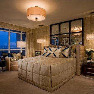 Bedroom - contemporary carpeted bedroom idea in Orange County
