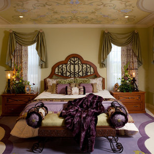 Mid-sized traditional master bedroom in Orange County with beige walls, carpet, no fireplace and multi-coloured floor.