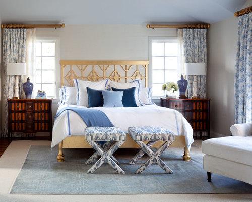 inspiration for a transitional master bedroom remodel in denver with beige walls - Bedroom Curtain Design