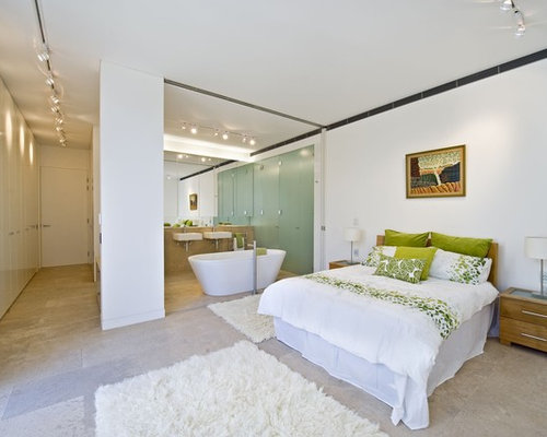 Open plan ensuite houzz for Open plan bedroom bathroom ideas