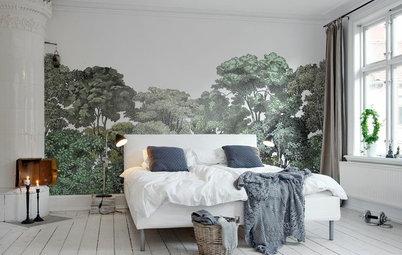 Molduras y papel pintado: Un tándem ganador para el dormitorio