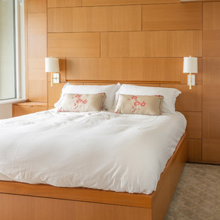 Modelo de dormitorio principal, actual, de tamaño medio