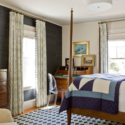 Mid-sized elegant master medium tone wood floor bedroom photo in Boston with multicolored walls and no fireplace
