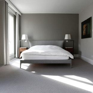 Imagen de dormitorio principal, contemporáneo, grande, con paredes grises, moqueta, suelo gris, chimenea tradicional y marco de chimenea de yeso