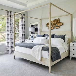 Contemporary master bedroom in Other with carpet, no fireplace, grey floor, recessed and grey walls.