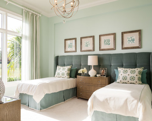 Transitional guest bedroom photo in Miami with blue walls