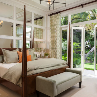 Inspiration for a transitional carpeted and beige floor bedroom remodel in Miami