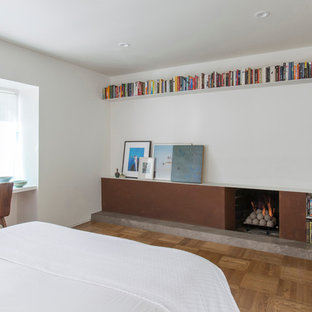Example of a mid-sized trendy guest medium tone wood floor bedroom design in San Francisco with white walls, a standard fireplace and a metal fireplace