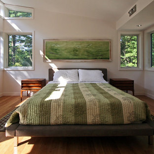 Inspiration for a modern bedroom remodel in Boston with white walls