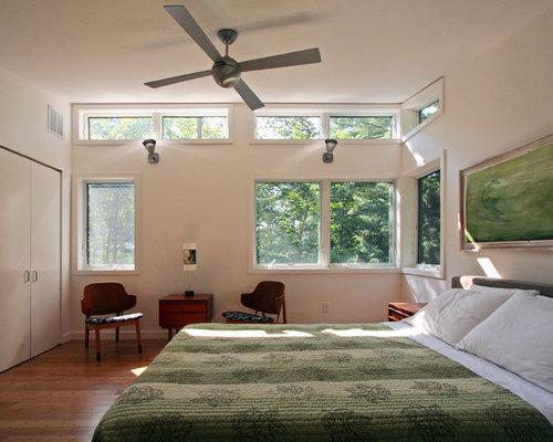 bedroom window. Minimalist bedroom photo in Boston with white walls Bedroom Window  Houzz