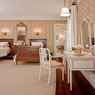 Example of a classic dark wood floor bedroom design in Boston with no fireplace