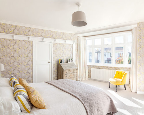 medium sized traditional master bedroom in london with carpet and grey walls - Grey And Yellow Bedroom