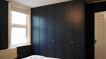 Bespoke dark spray painted bedroom wardrobe