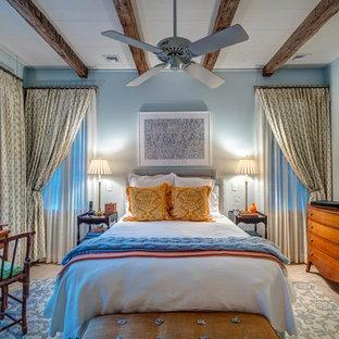 ニューヨークの大きいトランジショナルスタイルのおしゃれなゲスト用寝室 (青い壁、無垢フローリング、標準型暖炉、漆喰の暖炉まわり、茶色い床)