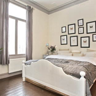 Bedroom Traditional Dark Wood Floor And Brown Idea In Other With Beige Walls