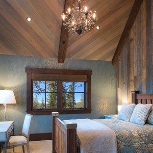 Ejemplo de habitación de invitados rural con moqueta
