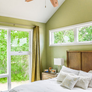 Photo of a small transitional master bedroom in Minneapolis with green walls, carpet and white floor.