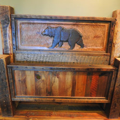 Barnwood Beds Hand Carved Bear Panel Integrated Into A