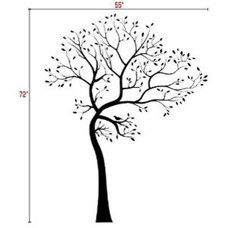 Eclectic Bedroom Big Tree Wall Decal with Bird