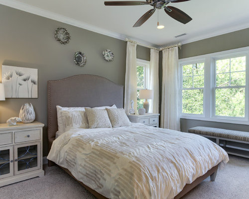 Ordinaire Inspiration For A Beach Style Master Carpeted Bedroom Remodel In Other With  Gray Walls