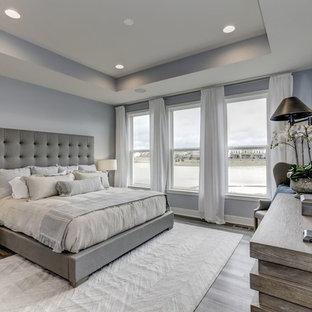 Ejemplo de dormitorio principal, sin chimenea, con paredes grises, suelo vinílico y suelo gris