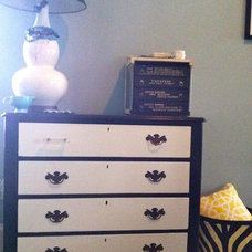 eclectic bedroom Black and White Dresser