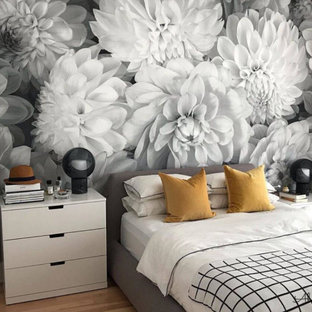Black and White Floral Wallpaper in a Bedroom from AboutMurals.ca