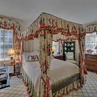 Ornate bedroom photo in Atlanta with beige walls