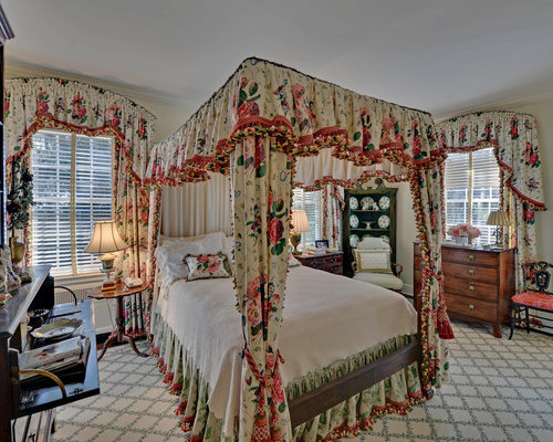 Ornate bedroom photo in Atlanta with beige walls. Floral Bedroom   Houzz