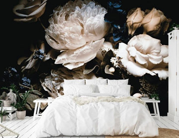 Black Floral Wallpaper Bedroom from AboutMurals.ca
