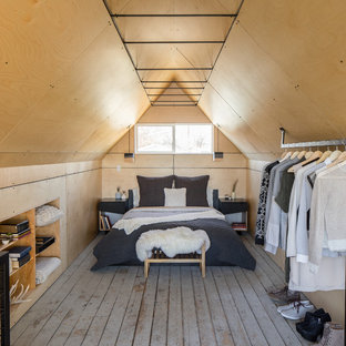 Design ideas for an industrial loft-style bedroom in Denver with painted wood floors.