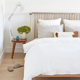 Esempio di una piccola camera matrimoniale nordica con pareti bianche, parquet chiaro, camino bifacciale, cornice del camino in pietra e pavimento beige