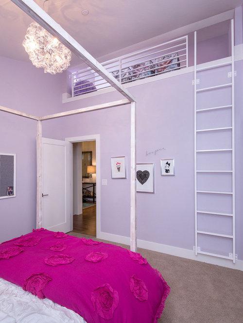 Purple mezzanine bedroom design ideas renovations photos - Bed mezzanie kind ...