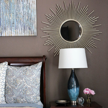 Blue & Dark Brown Bedroom