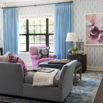 Blue and Lavender Bedroom with Seating Area