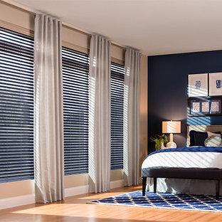 Inspiration for a large modern master medium tone wood floor bedroom remodel in Denver with blue walls