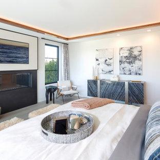 Ispirazione per una camera da letto minimal con pareti bianche, camino lineare Ribbon e pavimento grigio