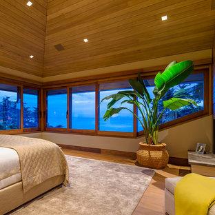 Imagen de dormitorio principal, exótico, con suelo de madera en tonos medios y chimenea de esquina